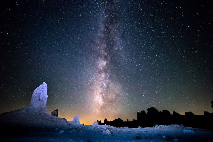 California USA Astronomy Beauty In Nature Constellation Galaxy Landscape Milky Way Mountain Nature Night No People Outdoors Rock - Object Scenics Sky Snow Space Star - Space Tranquil Scene Trona Pinnacles Winter