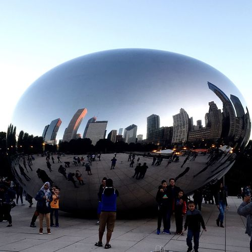 Chicago Skyline on a Chicago Bean Millenium Park Architecture Hello World Mirror Reflection Reflection_collection Monument