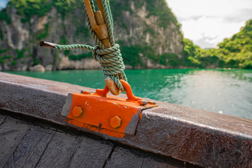 Floating along in Halong Bay Beauty In Nature Boat Day Focus On Foreground Nature Nautical Vessel No People Outdoors River Ropes Selective Focus Transportation Vertebrate Water