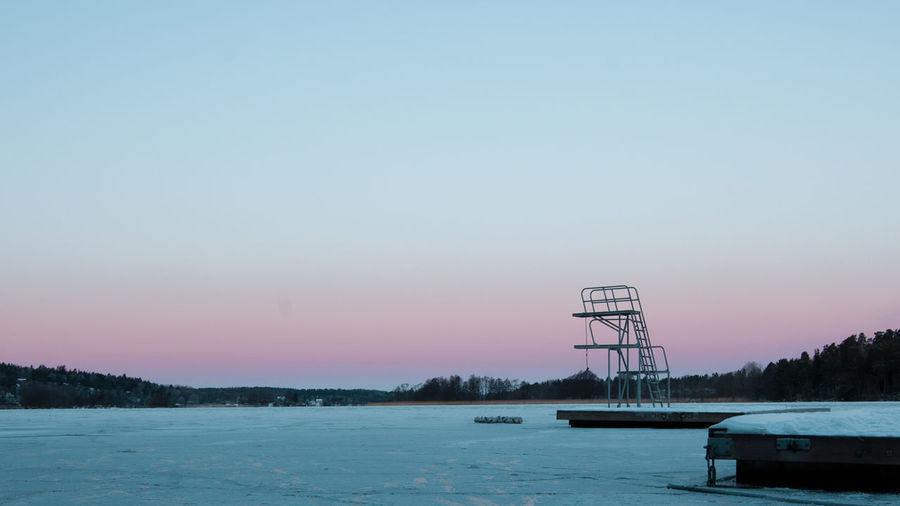 -15°C Cold Diving Board Ice Lake Morning Mälaren Sky Stockholm Winter