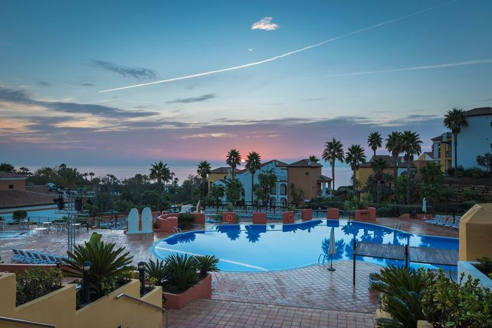 Architecture Swimming Pool Roof House Sky Built Structure No People Luxury Palm Tree Nature Landscape SPAIN CostadelSol Sunset Rear View Horizon Over Water