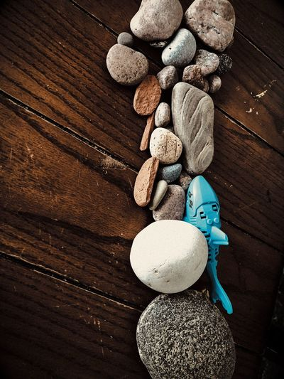 3 year olds imagination Shark Toy Rocks Sealife Wood - Material Still Life High Angle View Table Indoors  Art And Craft Large Group Of Objects Creativity Food Representation Day Nature Design Close-up