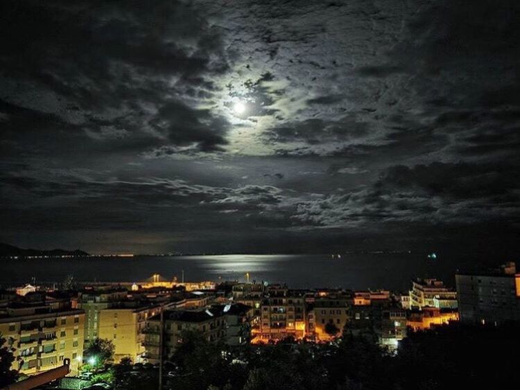 Look up and get lost 🌕 Last nights strawberry moon sure was a sight to see. Illuminated City Cityscape Cloud - Sky Night Moon Strawberry Moon 2016 Okinawa japan