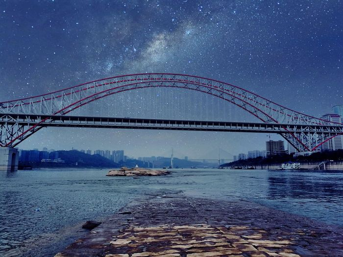 Long Exposure Bridge - Man Made Structure Night Business Finance And Industry Sky Connection Awe Clear Sky Sea Astronomy Science And Technology Light Trail Star - Space Built Structure Scenics Girder Water Steel Harbor Architecture Art Is Everywhere Break The Mold