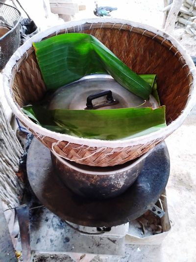 High angle view of coffee in basket