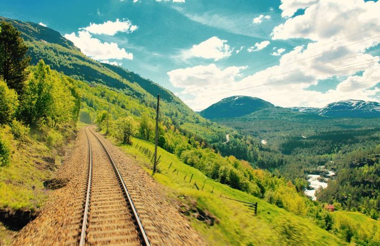 Norway Railroad Track Rail Transportation Mountain Scenics Transportation The Way Forward Nature Beauty In Nature Sky Landscape No People Outdoors Day The Great Outdoors - 2017 EyeEm Awards Live For The Story Sommergefühle EyeEm Selects Been There.