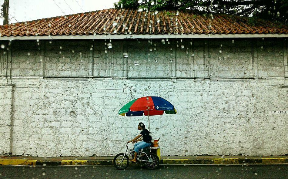 Rain Rain Drops Rainy Days☔ Umbrellastreet Umbrella☂☂ Umbrella Revolution Transportation Transportation Vehicle Tricycle Pedicab Pedicablife Pedicab Driver