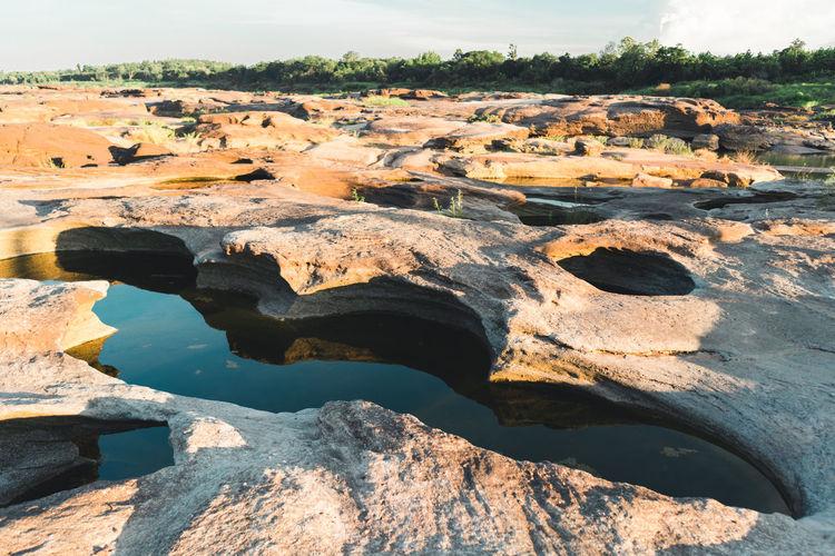 Rock formations on landscape
