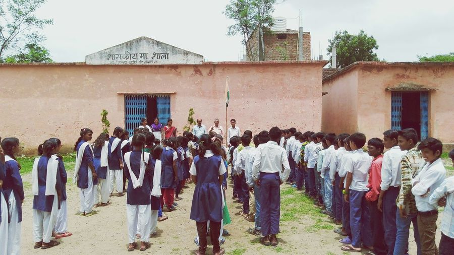 Large Group Of People Building Exterior Men Parade Built Structure Real People Uniform Outdoors Adult Day People Togetherness Schooldays School Uniform Scool Time Children's Playground Childrensphoto School Life  School Sky Bhopal, India School Children Childhood Function Children Photography