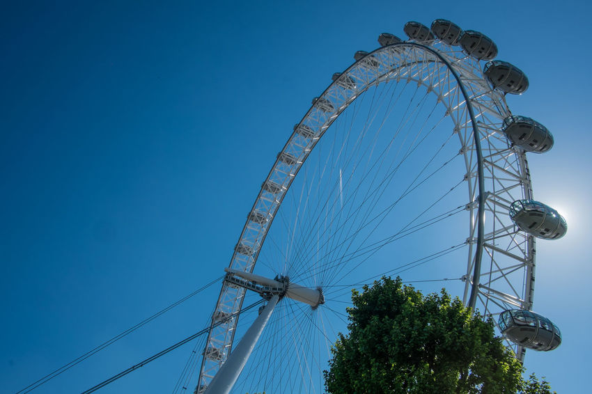 Amusement Park Ride Arts Culture And Entertainment Big Wheel Blue Clear Sky Day EyeEm LOST IN London Ferris Wheel London Eye Low Angle View No People Outdoors Sky EyeEmNewHere Your Ticket To Europe Postcode Postcards