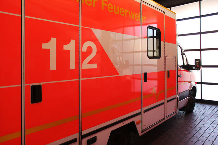112 Emergency Feuerwehr Krankenwagen Ambulance Lights Day Fire Department Land Vehicle Men Notfall Real People Red Rettungswagen Transportation
