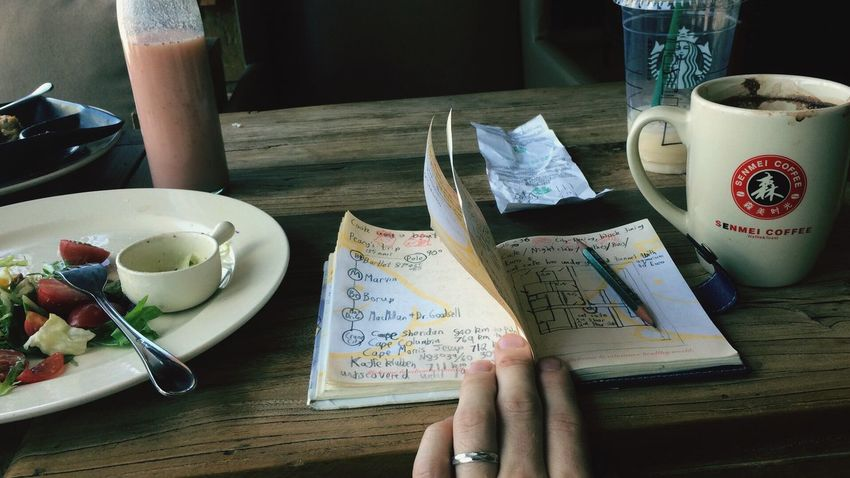 EyeEm Selects Table Food And Drink Indoors  Serving Size Human Hand Real People Ready-to-eat Freshness Oldschool Pencil Notebook Paper And Pencil Cafe Hipster Style Vintage Retro Before It Was Mainstream Postmodernism Existentialism Meta Wood - Material Blueprint Floorplan EyeEm Ready