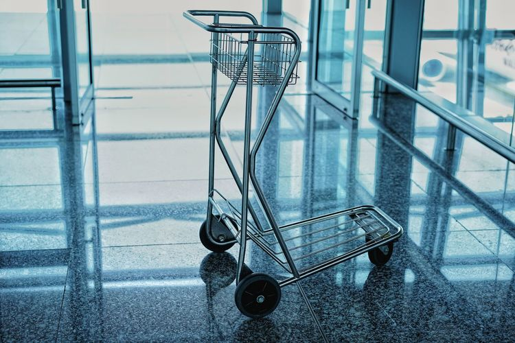 Push Belonging Trolley Airport Passenger Luggage Travel Shopping Cart Suitcase Wheeled Luggage Transportation Building - Type Of Building Arrival Departure Board Airplane Ticket Airport Check-in Counter Passenger Boarding Bridge Airport Departure Area Moving Walkway  Runway Airport Runway Airport Terminal Luggage Cart