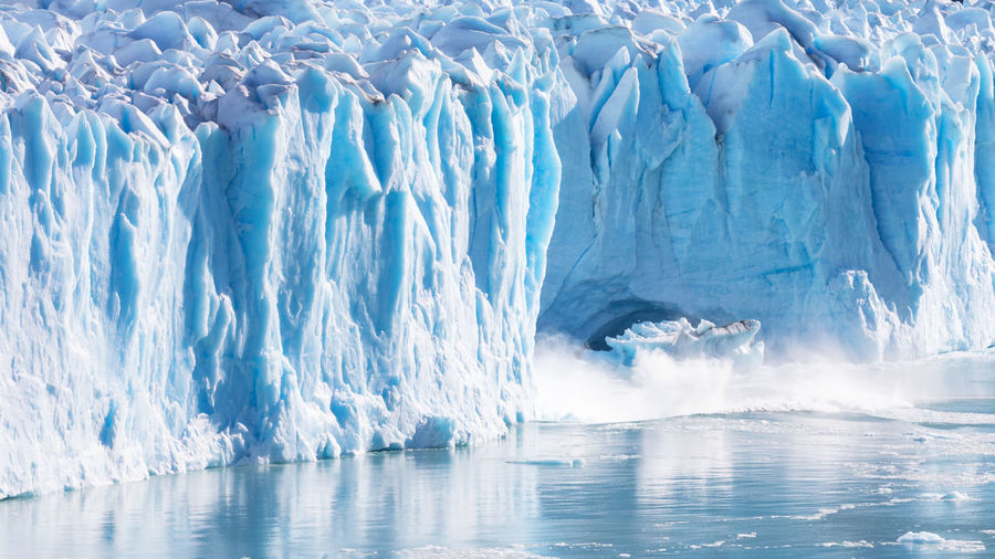 Large piece of ice collapses at the Perito Moreno Glacier, Patagonia, Argentina Andes Los Glaciares National Park Panorama Perito Moreno Glacier Argentina Blue Cold Glacier Ice Iceberg Iceberg - Ice Formation Landscape Nature Outdoors Patagonia Snow