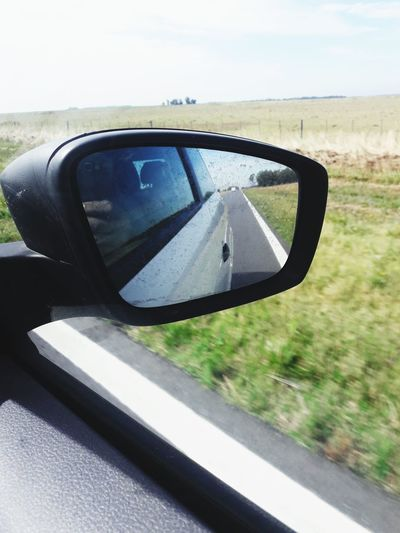Rutas argentinas Car Mirror Transportation Side-view Mirror Driving Road Trip Vehicle Mirror Day Photography Themes Wireless Technology Road Nature Sky Outdoors EyeEmNewHere