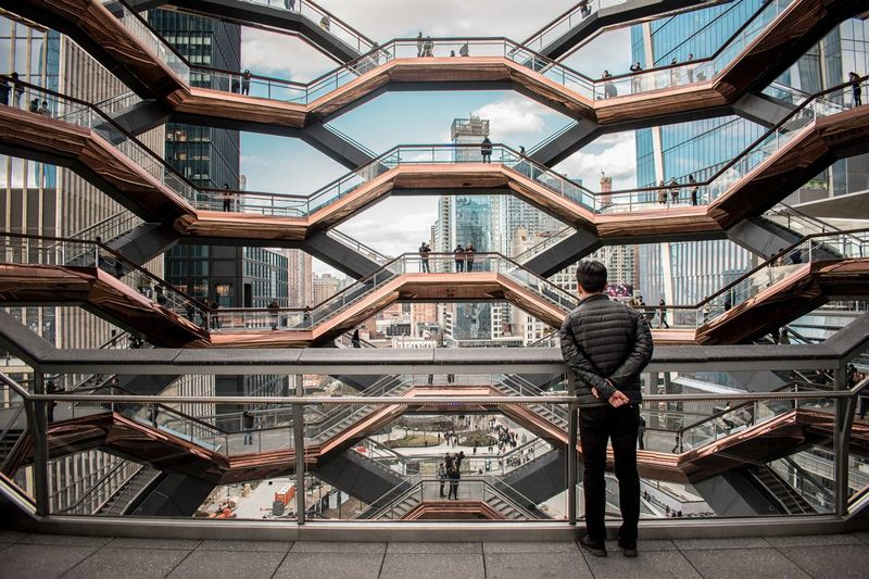 Hudsonyards Hudson Yards Staircase Hudsonyardnewyork Architecture Built Structure Building Exterior Day Pattern Travel Destinations Metal Low Angle View Building Tourism Staircase Steps And Staircases Outdoors Shape