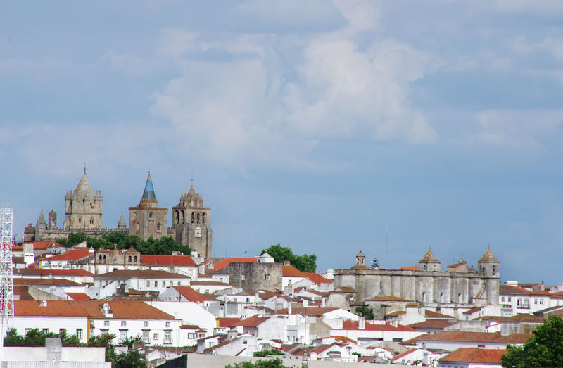 view of old cathedral in Evora, Portugal Architecture Building Exterior Cathedral City Cloud - Sky Evora, Portugal History Religion Sky Travel Destinations Évora