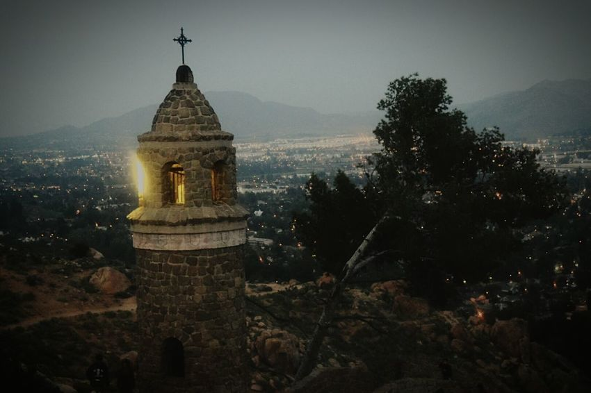 Mountain lighthouse Mt . Rubidoux Stone Wall Light Tower