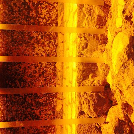 Roman remains. Abstract Archaeological Architecture Glowing Light Lines Materials Orange Rock Formation