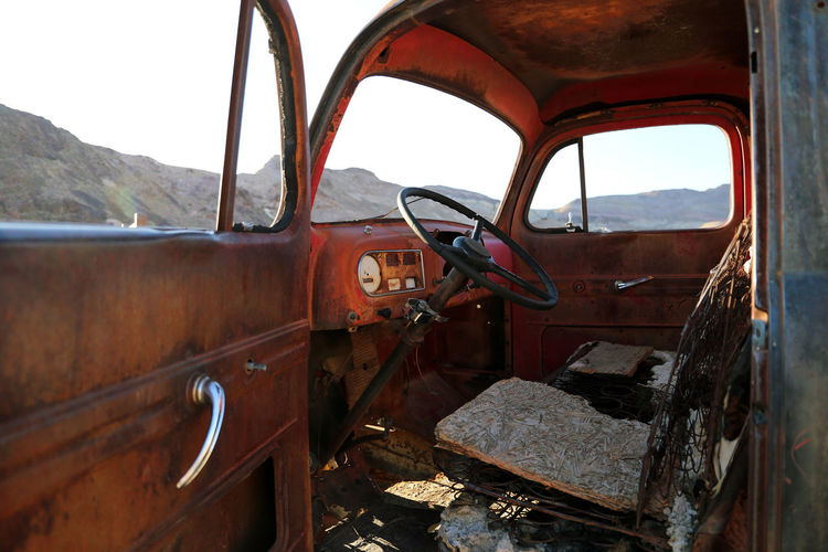 Ghost Town Death Valley National Park American Classic American Trucks Rust Abandoned Abandoned Truck Bad Condition Car Damaged Day Destruction Land Vehicle Mountain No People Obsolete Outdoors Rusty Sky Steering Wheel Transportation Truck Window