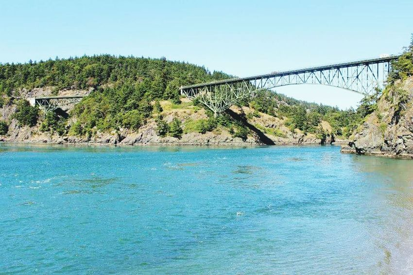 Deception Pass Tree Day Blue Connection Bridge - Man Made Structure Water Outdoors River Sky No People Nature Scenics Clear Sky Beauty In Nature Architecture