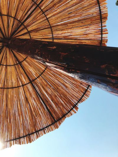 Straw sunshade. Montenegro. Summer 2018 Straw Umbrellas Straw Umbrella EyeEm Selects Sky Nature No People Built Structure Architecture Day Low Angle View Protection Umbrella Clear Sky Sunshade Sunlight Security Blue Parasol Thatched Roof Safety Roof