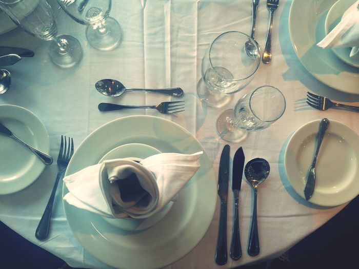 Directly above shot of place setting on table