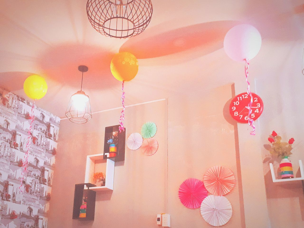 hanging, indoors, multi colored, lighting equipment, no people, low angle view, large group of objects, home interior, variation, balloon, illuminated, close-up, day