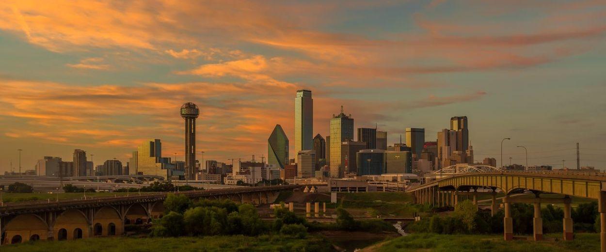 Sunset over Dallas Skyline Dallas Tx Skyscraper City Sky Urban Skyline Cloud - Sky Architecture Building Exterior Sunset Downtown District First Eyeem Photo