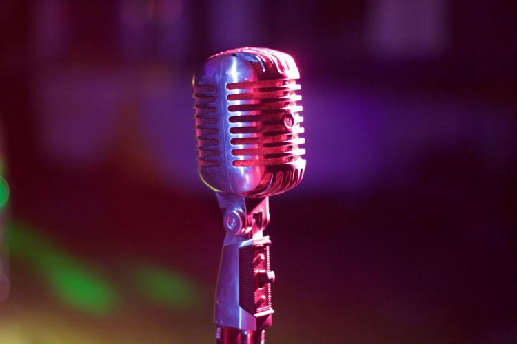 Cropped image of old-fashioned microphone