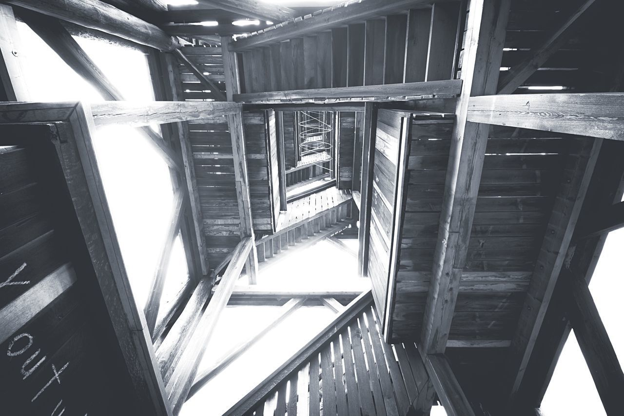 HIGH ANGLE VIEW OF STAIRCASES