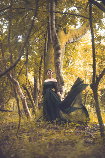 Beautiful People Beautiful Woman Beauty Beauty In Nature Fantasy Forest Full Length Green Color Nature One Person One Woman Only Only Women People Relaxation Tree Tree Trunk Women Young Women