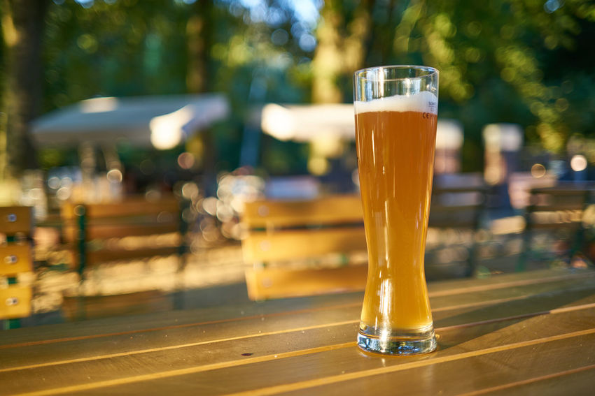 Im Biergarten Weßbier Alcohol Beer Beer - Alcohol Beer Glass Biergarten Close-up Day Drink Drinking Glass Focus On Foreground Food And Drink Freshness Glass No People Outdoors Refreshment Still Life Table