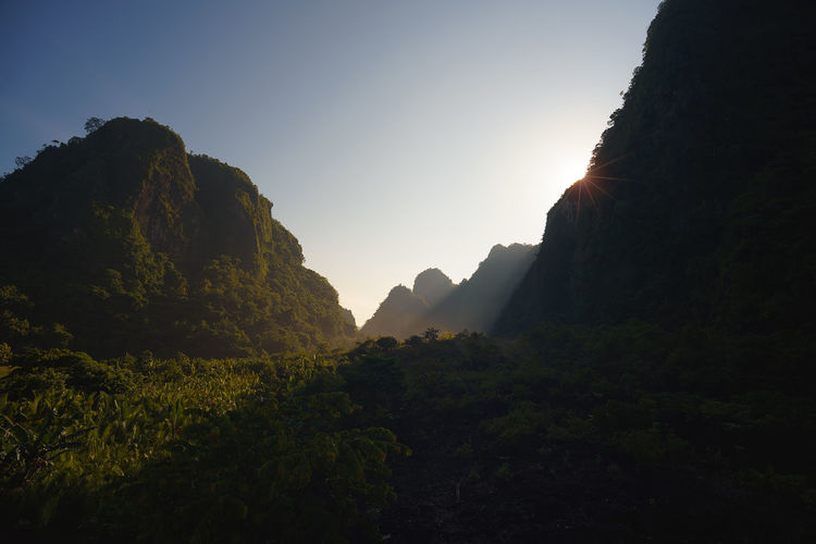 Rammang Rammang (Morning view Rammang-Rammang) Rammang Rammang Rammangrammang Salenrang Kampungberua Shadow Maros  Sulawesi Celebes Maros  Mountain Tree Tree Area Arrival Place Of Worship Religion Forest Silhouette Sky Landscape Mountain Peak Foggy Fog Focus On Shadow Long Shadow - Shadow Mist