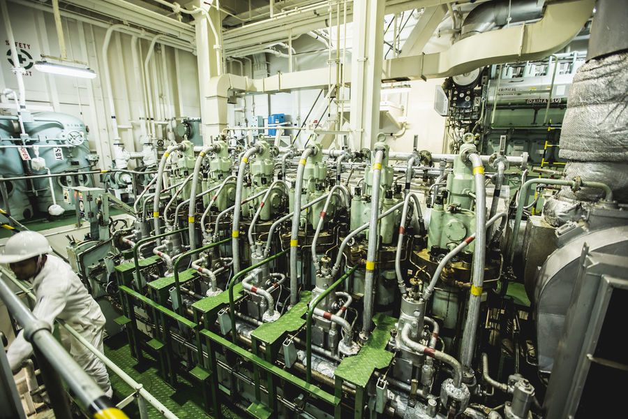 engine on cargo ship Car Plant Day Engine Factory Indoors  Machinery Manufacturing Equipment No People Production Line Technology