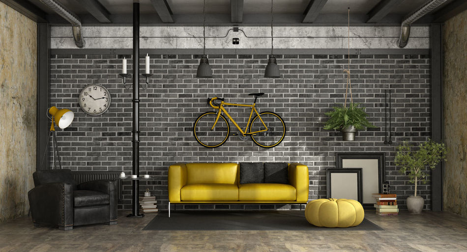 Retro Architecture Armchair Bicycle Black Brick Domestic Room Furniture Indoors  Industrial Style Living Room Furniture Loft Style No People Sofa Vintage Wall Wall - Building Feature Yellow