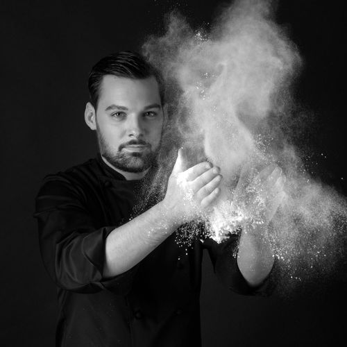 Portrait Cooking Cooker French Cooking Black And White Studio Shot Xavier Pincemin Explosion Clap