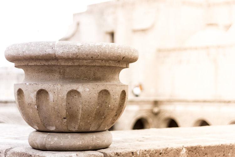 Close-up of stone vase