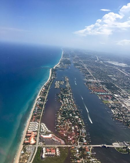 Atlantic Coast Atlantic Ocean Coast Coastline Palm Beach Palm Beach County Florida  Water Sea Nature Sky Day High Angle View Scenics - Nature Aerial View Beauty In Nature Cloud - Sky Transportation Outdoors City Blue Tranquility