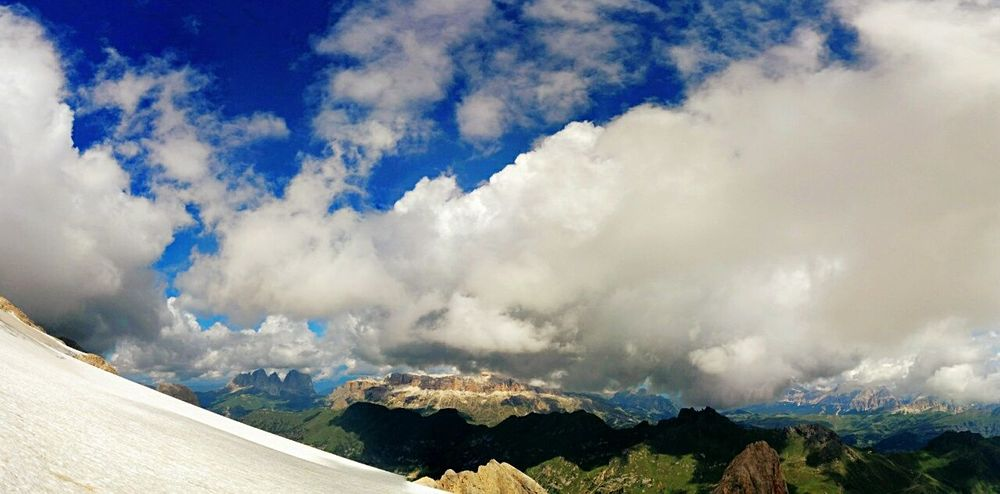 Let me take you to the mountain 💙 Cloud - Sky Mountain Snow Wilderness Area Intothewild Marmolada Italy Dolomites, Italy MeAndDad Lovelyday Summer Views