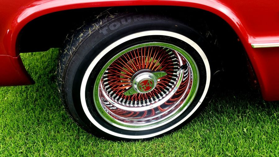 64 Impala Red Wheels Rims Tires Grass Side American Classic Classic Car Beautiful Paintwork Spokes 1964 Vintage Vintage Cars Old