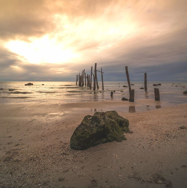 Water Sea Sunset Beach Sand Low Tide Sunlight Sun Nautical Vessel Dramatic Sky
