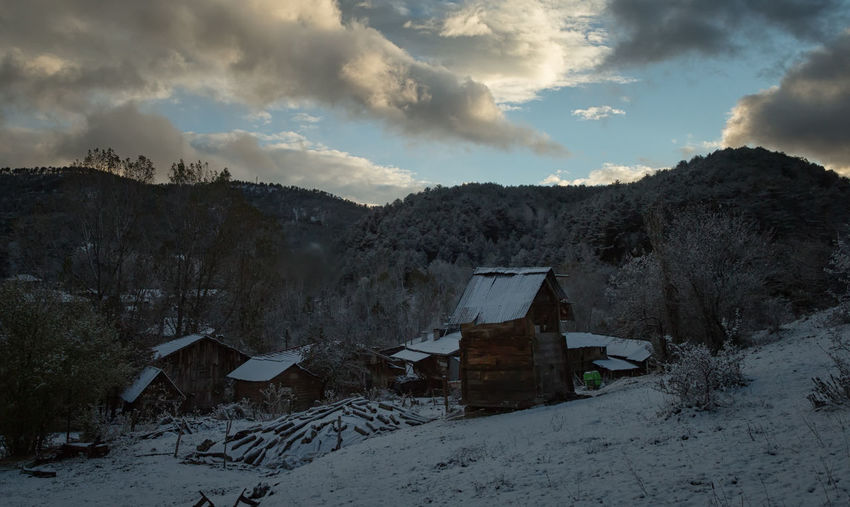 Winter Wonderland Architecture Beauty In Nature Building Exterior Built Structure Cold Temperature Icy Landscape Mountain Nature Outdoors Scenics Sky And Clouds Snow Snow Covered Snow Roof Sunset Sünnetköy Trees Turkey Türkiye Village Winterwonderland