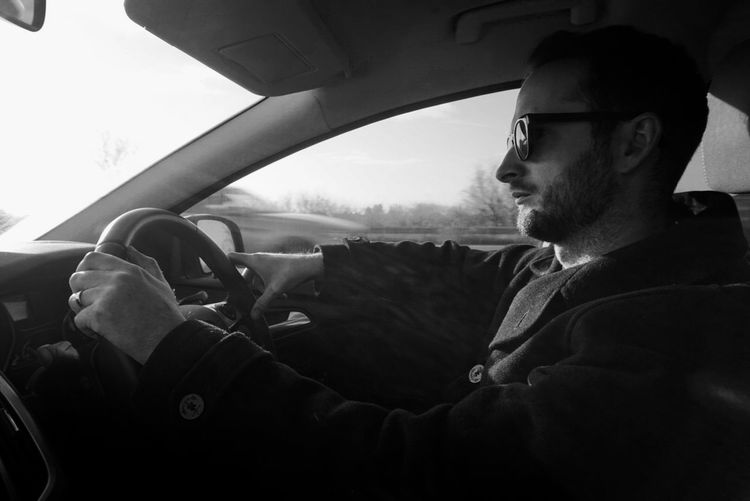 Adventure Blackandwhite Car Drivinghomeforchristmas Men Real People Sunglasses Transportation Vehicle Interior Traveling Home For The Holidays