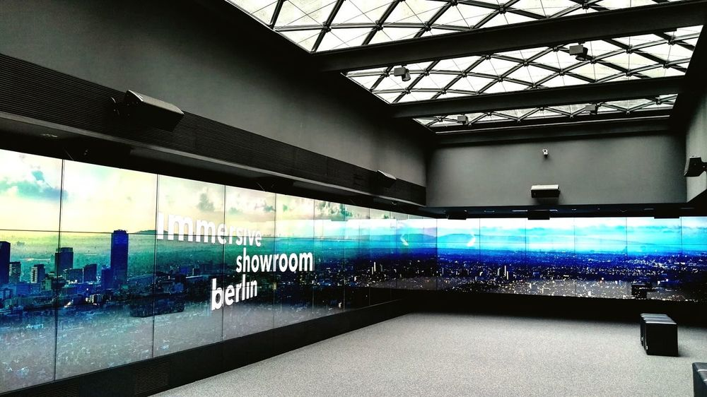 ArchitectureBuilt Structure Indoors  Day Techie Technology Art Business Work Immersion Immersive Showroom Pariser Platz Berlin Mitte Berlin Brandenburg Gate Brandenburger Tor Architecturelovers Entertainment Hightech Panorama Wide Screen Technology Screen Triad The Gate