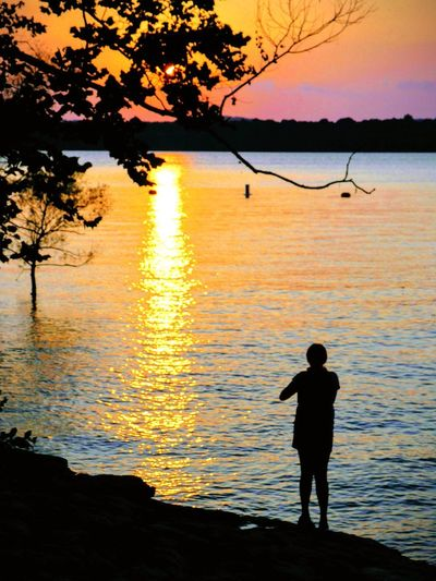 Sunset Water Silhouette One Person Beauty In Nature Lifestyles Standing Real People Scenics - Nature Leisure Activity Outdoors Tranquility #FREIHEITBERLIN