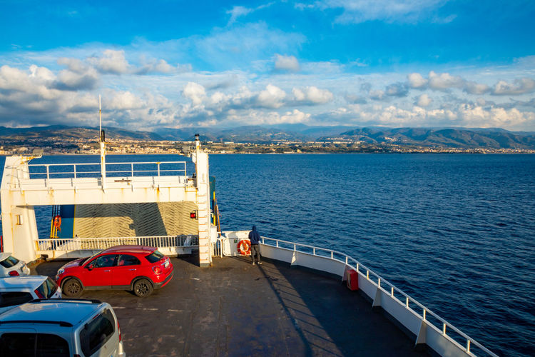 Messina Italy Sicily Ferry Sea Mode Of Transportation Transportation Motor Vehicle Car Water Cloud - Sky Land Vehicle Sky Architecture Nature Built Structure Nautical Vessel City Day No People Mountain Travel High Angle View Outdoors Cruise Ship Passenger Craft