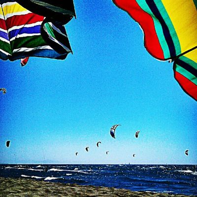 It's a kite world. Kitesurf Instasport Instamood Instamoment instantcool sea summer beach sky colours mare sabbia estate sole colore