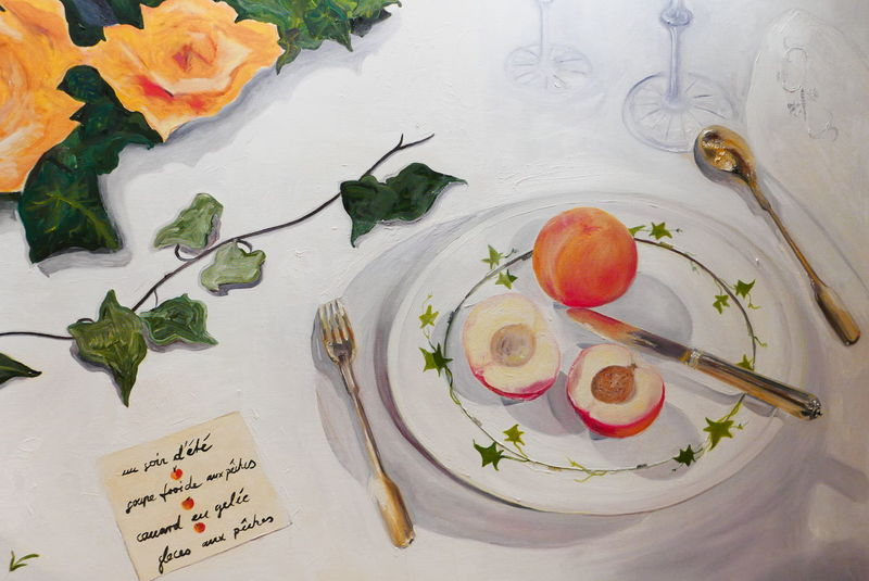 Flower Flowers Food Freshness Gold Indoors  Ivy No People Oil Painting Painted Image Palette Peaches Plate Plates Roses Tableware