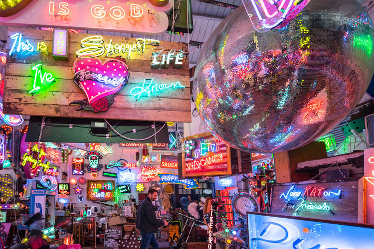 Neon signs and decorations at God's Own Junkyard in Walthamstow, London. Bright Colors Colourful Neon Signs City Lighting Neon Neon Lights Urban Urban Lighting